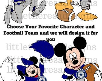 Mickey and Friends Football Teams Digital Images Or Transfer,Diy