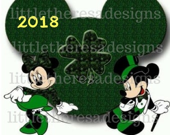 Mickey and Minnie St .Patrick's Day Digital Transfer,Digital Iron On,Diy