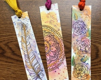 Set of 3 Watercolor Bookmarks
