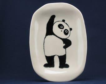 Exercising panda dinnerware plate