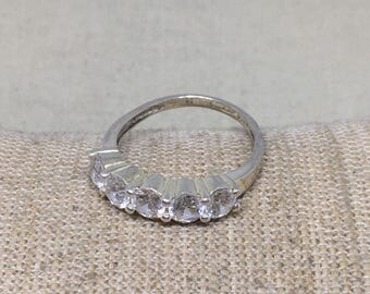 Sterling Silver 5 Stone CZ Ring 7-1/4 Size