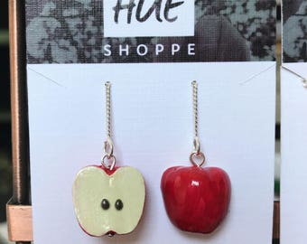 Sterling Silver Polymer Clay Apple Thread Earrings