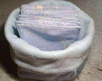 Basket with washable baby wipes