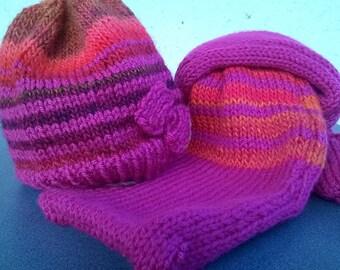Hat and scarf fuchsia girl 1 year