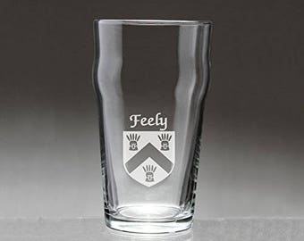 Feely Irish Coat of Arms Pub Glasses - Set of 4 (Sand Etched)