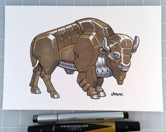 "Bison Robot 6"" x 9"" Pen and Marker Original Art"