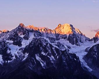 Large Alps Sunrise Panorama on Canvas 100cm x 25cm | mountain landscape panoramic canvas large