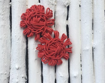 Cotton flower shaped earrings
