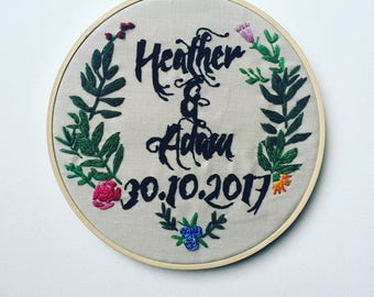 Personalised wedding gift, custom embroidery hoop art, gift for couple, anniversary gift, gift for bride, unique wedding gift, engagement