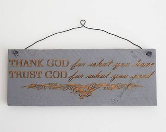 Engraved Pallet Wood Sign- Thank God for What You Have, Trust God For What You Need | Gift | Laser | Engraved | Recycled | Eco Friendly