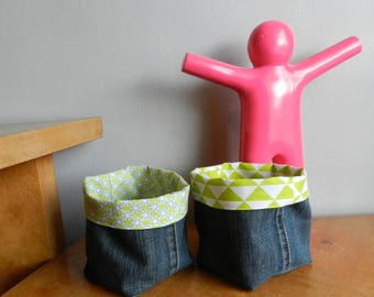 Set of 2 baskets / reversible recycled denim pot