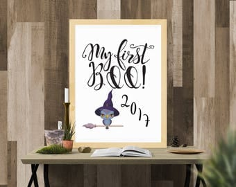 Halloween Printable / My First Boo 2017 with Owl / Ready to Print Digital Download / Size 8x10 300 DPI / Halloween Wall Art and Printable