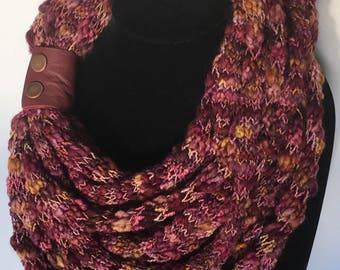 Mulberry multi-strand merino scarf with cuff