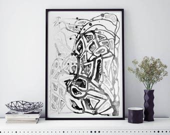 Digital Artwork, Black and White painting, Abstract, Curves, Art Print, Home Decor, Wall Decor, Wall art
