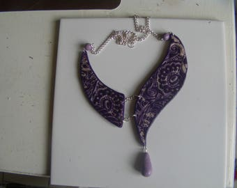 "polymer clay necklace ""Glamor and rock"" gray and purple"
