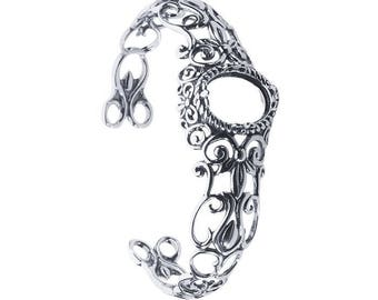 Sterling Silver 16 x 12mm Oval Filigree Cuff Bracelet Mounting