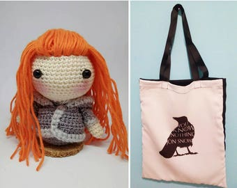 Game of Thrones, Game of Thrones, Jon Snow, tote bag, cloth bag got, Amigurumi Ygritte, Ygritte, tote bag Game of Thrones
