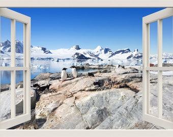 Penguins Wall Sticker, 3d Window Wall Decal, Penguins Wall Decal, Snow Iceberg Wall Decal, Window Frame Wall Sticker, Home Living Room Decor