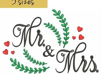 MR.& MRS. wedding embroidery machine designs,love pattern,heart,merried