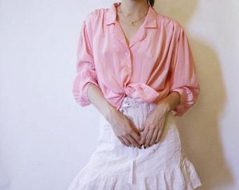 80s Pink Blouse M L