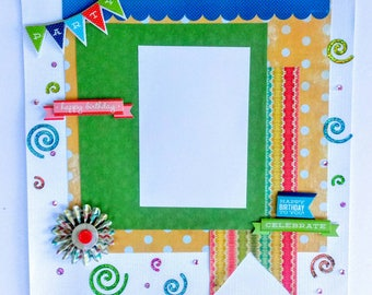 Birthday Scrapbook, Premade Birthday Page, Celebration Layout, Party Layout, Birthday Party, 12x12 Birthday Page, Party Page