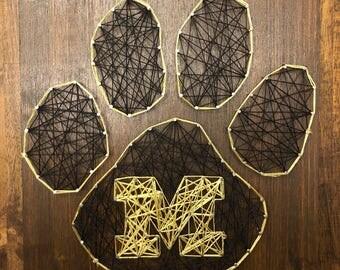 Mizzou Paw Print String Art