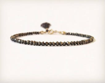 Pyrite Bracelet with tiny Tassel
