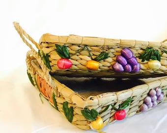 Wicker Casserole Trays / Serving Trays / Raffia Casserole Dishes / Fruit Wicker / Casserole Holders / Raffia / Vintage Basket
