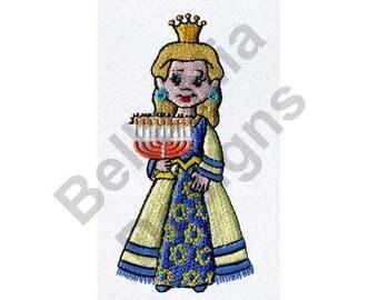 Hanukkah - Machine Embroidery Design, Princess, Menorah