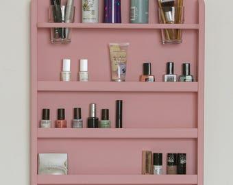 Pink Wall Mounted Makeup Organizer- Nail Polish Rack -Beauty Station - Bathroom Storage-Lipstick Organizer-makeup organizer