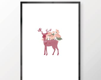 Watercolour Deer With Flowers Wall Print - Wall Art, Bedroom Print, Minimalist Print, Personal Print, Home Decor, Watercolour Print,
