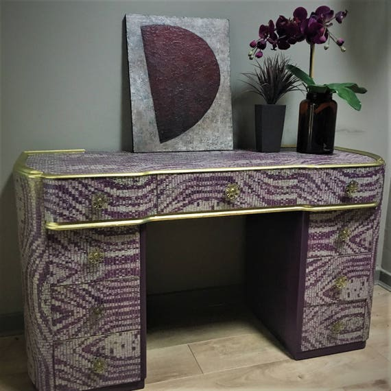 SOLD! 1930s vintage desk / dressing table abergine faux snakeskin and gold decoupage