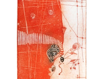 """Heike Roesel """"Moonflowers"""" fine art etching in editions of 25 (in variation)"""