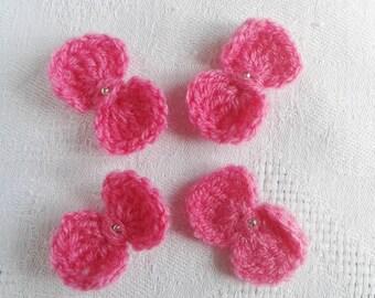 lot de 4 noeuds papillons roses au crochet