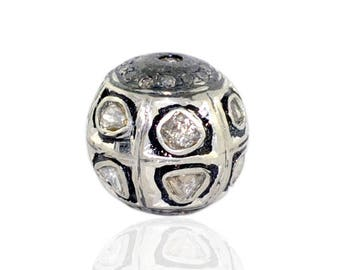 Victorian style Rose cut Pave diamond large polki diamond 13mm bead Ball jewelry making / jewelry finding/ bracelets and necklace - PJBE2045