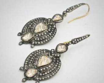 Victorian style 4.10ctw rose cut diamonds polki sterling silver Statement long danglers Wedding earrings Chand Bali