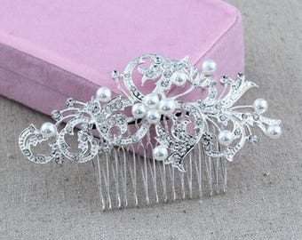 Bridal Hair Accessory: Pearl Hair Comb, Crystal Hair Comb, Wedding Hair Comb, Hair Clip