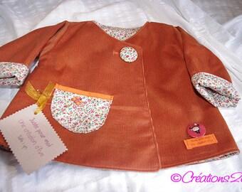 Child/baby reversible caramel corduroy coat size 1 year