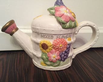 Fitz and Floyd Tea Pot Mixed Flowers 1993