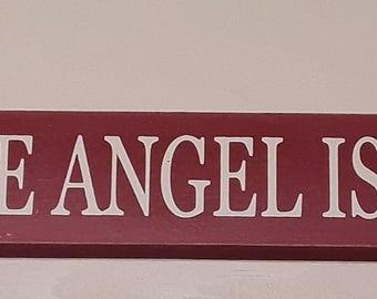 Nurse- because angel isn't a job title,  18 inch shelf sitter, wooden sign