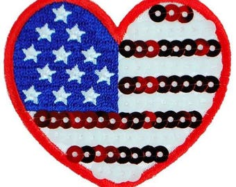Expo Iron-On Embroidered Sequin Applique Flag Heart