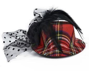 Expo Bijou Plaid Fascinator Mini Top Hat