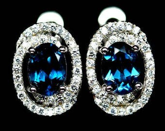 Earring in 925 silver plated white gold London Blue Topaz and Zirconium