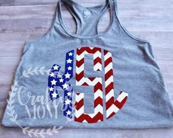 Monogram American Flag Inspired Shirt Tank Top