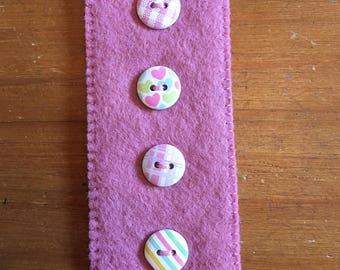Handmade, felt and button bookmark.