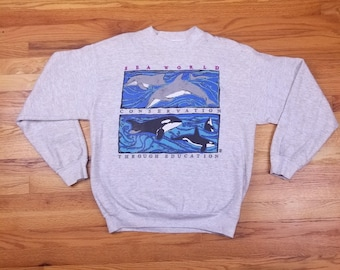 Vintage 90s Sea World Sweatshirt Shirt Whale dolphin orca Size Large Seaworld