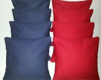 Set Of 8 Navy & Red Cornhole Bean Bags ***FREE SHIPPING!!!***