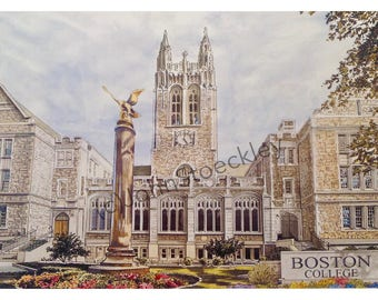 Boston College LIMITED EDITION Pen and Ink and Watercolor Art Print Illustration by John Stoeckley - Graduation Gift