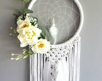 Macrame wall hanging, wedding decor, wedding hanging, wedding dream catcher, dreamcatcher, macrame, macrame dream. White dream catcher
