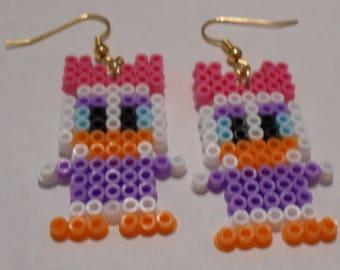 Daisy Duck Mini Perler Bead Earrings